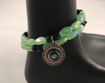Green beaded bracelet, black beaded bracelet, green charm bracelet, black charm bracelet, green bracelet, black bracelet