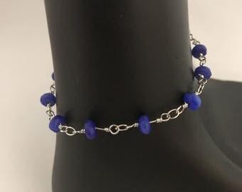 Cobalt blue bracelet, cobalt blue beaded bracelet, blue bracelet, blue beaded bracelet, blue link bracelet, bracelet blue