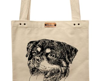 Rottweiler - hand printed cotton tote bag