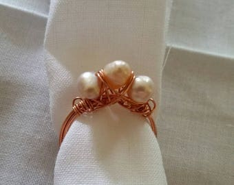 Wire Wrapped Freshwater Pearl Ring