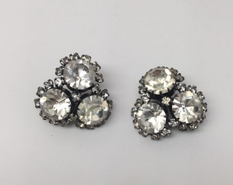 Vintage Crystal Clear Faceted Rhinestone Signed Vogue Earrings