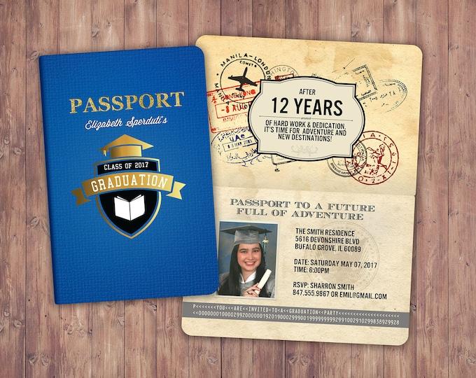 Graduation Party Invitation, Bon Voyage, travel, passport, destination, invite, party, oh the places you will go, prom,