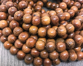 Natural Bayong Wood Beads, Round Waxed Wooden Beads, Brown Bayong Beads with Red Hue, Wooden Mala Beads, 8mm - 50 beads (W8-29)