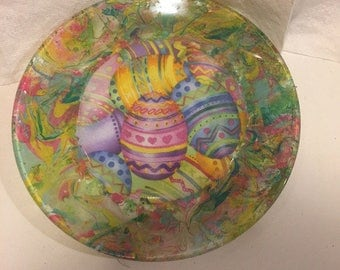 "Easter Carrot for the Easter Bunny  Hand Painted Marble Swirl Painted 7"" Glass Plate"