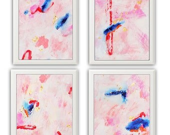 Abstract Painting Set, Abstract Canvas Small, Pink Gold Painting, Gold Leaf, Coral Painting, Canvas Wall Art, Affordable Original Art