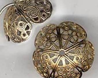 Vintage large oxidized brass filigree beadcap. Pkg. of 1. b9-0640(e)