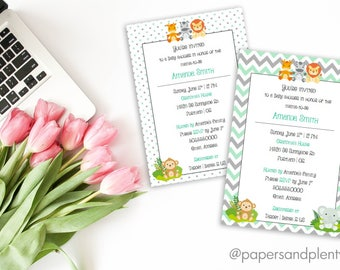 Chevron Jungle Animal Baby Shower Invitation | Safari Animal Baby Shower | Polka Dots or Chevron Invitations - Printable File