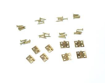 8 Miniature Metal Hinge Sets, Bin #E-8A