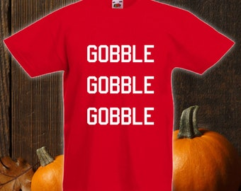 Gobble Gobble Gobble Thanksgiving Shirt, Thanksgiving Kids Shirts, Funny Turkey Shirt,Turkey Day Shirt,Sports Jersey Numbers Bodysuit CT-823