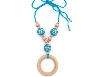 Blue Nursing Necklace - Crochet Mom Jewelry - Crochet Mom Necklace - Baby Wearing - Unique Crochet Necklace - Gift Idea for New Mom-Meadoria