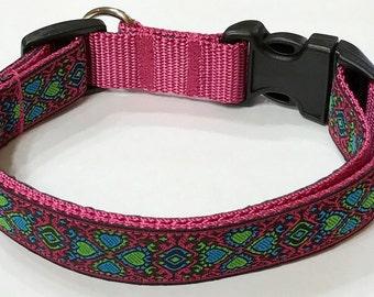 Gorgeous Jacquard Turquoise/Green/Pink Hearts Ribbon Designer Dog Collar, Stunning Design,Pet Supply, Pet Gift,Gorgeous, Veterinary Gift