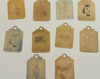Vintage tags. Hand stamped vintage looking gift tags. Set of 10