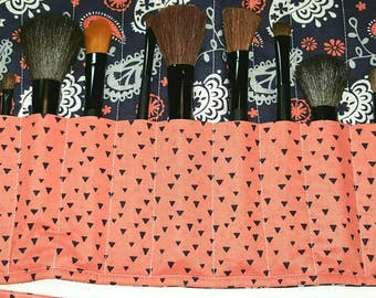 Make Up Brush Holder-Cosmetics-Make Up Roll Up-Make Up Brush-Make Up Tools-Luggage-Travel-Paisley-Blue-Coral-Cosmetics Bag