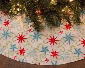 Christmas Tree Skirt-Stars-White-Red-Green-Blue-Holiday Decor-Coastal-Beach-Christmas Decorations