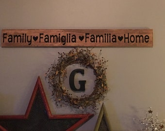 Family, Famiglia, Family, Home wallbsign