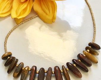Polished Natural Stone Gold Seed Bead Statement Necklace, Stick Shaped Beaded Necklace, Gifts for Her, Birthday Gift Idea, Boho Necklace