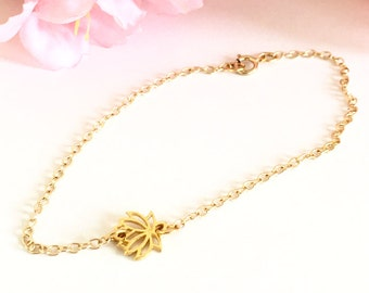 SOLD OUT!! Dainty 24K Gold Vermeil Filigree Lotus Flower Chain Bracelet, Minimalist Bracelets, Charm Bracelets, Gift Ideas for Her