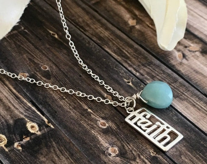 Featured listing image: Amazonite Briolette Sterling Silver Faith Charm Necklace, Pendant Necklaces, Spiritual Necklaces, Gemstone Jewelry, Briolette Necklace