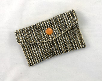 Coin Purse, Change Purse, Business Card Holder, Gift Card Holder, tan/olive/white, handmade and handwoven