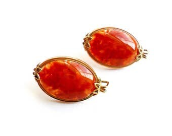 Vintage Hillcraft Slider Earrings Clip On Wire Slip On Style Marbled Orange Acrylic Cabochon Gold Tone Castlecraft Red Brock Terra Cotta