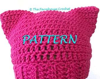 Cat Hat PATTERN, Pink Cat Hat PATTERN, Cat Ear Beanie PATTERN, women's march pattern