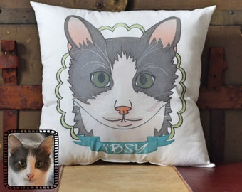 Custom Pet Pillow, Photo Pillow, Pet loss gift, Custom Cat Pillow, Cat lover gift, Pet Portrait, Pet Memorial, Pet Portrait Pillow