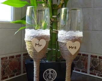 Vintage style wedding champagne flutes with string and lace