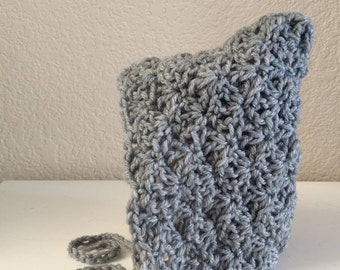 Grey pixie bonnet