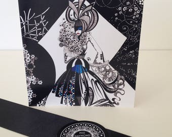 Black and white blank greeting card /Miss Dahlia/floral greeting card/ fashion gift card/ card for her/hand drawn card/ ink drawn card
