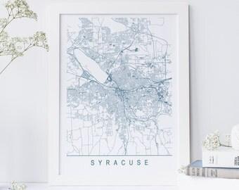 SYRACUSE MAP - Minimalist Syracuse Art Print, Customizable City Map, High Quality Giclee Print, Modern Map Art