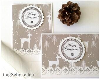 Handmade Christmas card set,  holiday greeting card, Merry Christmas, rustic season greetings, beige white, Xmas card, deer