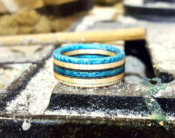 Handmade Blue and Black Recycled Skateboard Ring Free Shipping