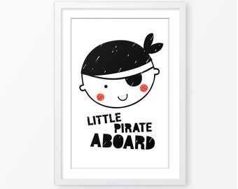 kids poster,children wall art,monochromatic,black and white,baby boy room decor,nursery decor,pirate poster,kids room decor,digital poster