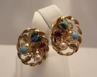 Vintage Marked Austria Fruit Salad Heart Stone Earrings in Gold Tone