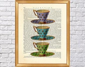 Vintage TEACUP PRINT on Vintage Dictionary Page, Dictionary Page Book Art Print 8 x 10 inches