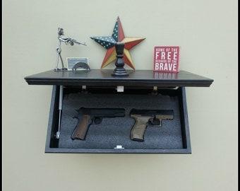 "23""  Oak Tactical Concealment Shelf With Drop Down Hidden  Secret Compartment For Hand Guns,Jewelry,Valuables,Etc.."