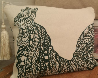 Ibiza Rooster clutch Bag screenprinted by hand