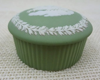 Wedgwood Sage Green Jasperware Fluted Trinket Box //  Angel Horses Chariot Clouds // Jewelry Box  // Made In England