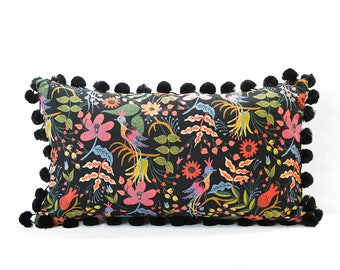 Linen Pom Pom pillow cover - Black and Pink lumbar pillow - Tropical pillow - Mexican-style pillow - Bright pillow  - Black linen pillow
