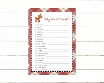 Deer Word Scramble Baby Shower Game, Red Plaid Baby Word Scramble Shower Game, Instant Download Printable
