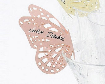 Butterfly Laser Cut Wedding Table Place Cards for Glasses – Pack of 10