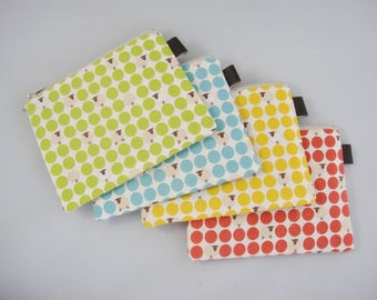 Polka dots and sheep, Zipper pouch, Coin purse, Tampon case, Green, Blue, Yellow, Red