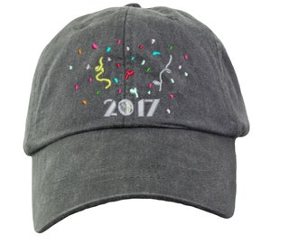 2017 New Years Eve Hat. New Year Hat. Baseball Hat Cap. Embroidered Hat. Cool Mesh Lining & Adjustable Leather Strap. LP101