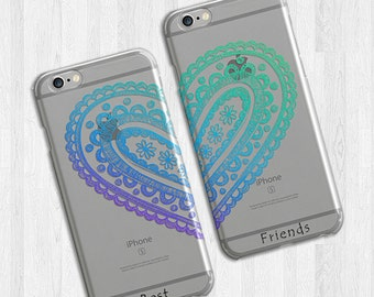 Best Friends iPhone 6 Case Set, Heart Paisley, Gift for friend, Transparent flexible case, iPhone 6 cover, Colorful iPhone 5 Case