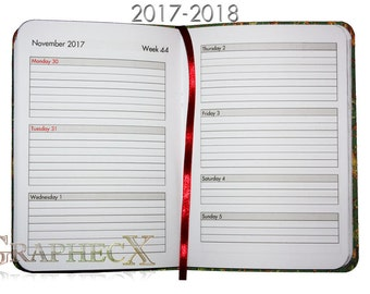 Fan-made 2017-2018 Diary Agenda Academic Year Day-planner Calender with cover of choice
