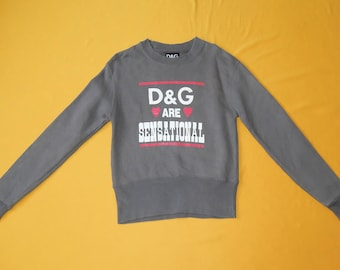 Dolce Gabbana Sweatshirt D&G Vintage 90s Gray Signature Spell Out Crew Neck Long Sleeves Sweater