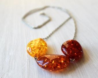 Red Orange Yellow Bead Unique Necklace 5004
