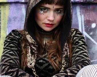 womens pixie hood, Burning man hood, sequin hood, rave hood, spirit hood, festival wear, festival clothes, rave clothing women