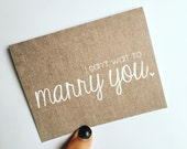 I can't wait to marry you - rustic wedding card - card for groom - card for bride - wedding day card - i love you card