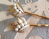Pearl and brushed gold hair pins, set, something old, bobby pins, 1920s wedding, rustic, vintage jewelry, set, Art Deco, bridesmaid gift